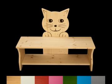 Kinderbank Katze mit Wunschfarbe komplett lackiert (Kindersitzbank aus Holz, Schuhbank, Sitzbank für Kinder)