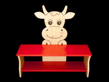 Kinderbank Kuh rot und klar lackiert (Kindersitzbank aus Holz, Schuhbank, Sitzbank für Kinder)