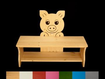 Kinderbank Schwein mit Wunschfarbe komplett lackiert (Kindersitzbank aus Holz, Schuhbank, Sitzbank für Kinder) - Handarbeit kaufen