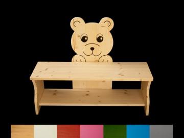 Kinderbank Bär mit Wunschfarbe auf Sitzfläche + Schuhablage (Kindersitzbank aus Holz, Schuhbank, Sitzbank für Kinder)