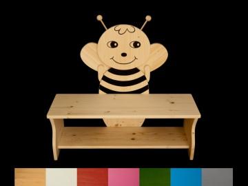 Kinderbank Biene mit Wunschfarbe auf Sitzfläche + Schuhablage (Kindersitzbank aus Holz, Schuhbank, Sitzbank für Kinder)