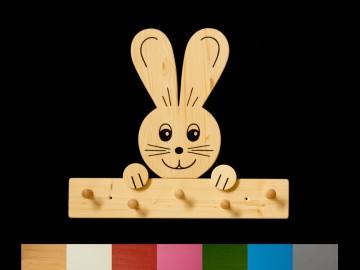 Kindergarderobe Hase mit Wunschfarbe (Leiste lackiert) Holz Garderobe mit 5 Haken