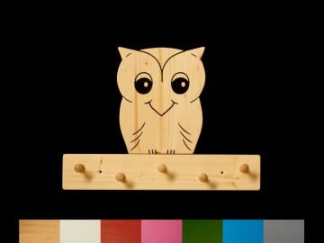 Kindergarderobe Eule mit Wunschfarbe (komplett lackiert) Holz Garderobe mit 5 Haken