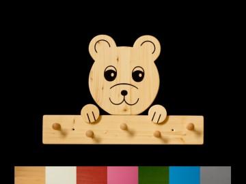 Kindergarderobe Bär mit Wunschfarbe (komplett lackiert) Holz Garderobe mit 5 Haken - Handarbeit kaufen