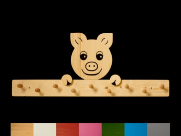 Kindergarderobe Schwein mit Wunschfarbe (Leiste lackiert) Holz Garderobe mit 9 Haken - Handarbeit kaufen