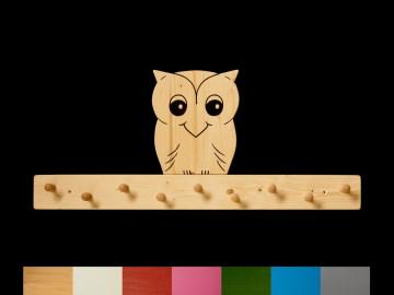Kindergarderobe Eule mit Wunschfarbe (Leiste lackiert) Holz Garderobe mit 9 Haken
