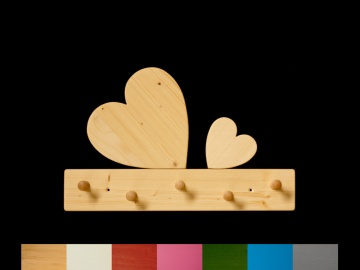 Herzgarderobe mit Wunschfarbe (Leiste lackiert) Holz Kindergarderobe Herz mit 5 Haken