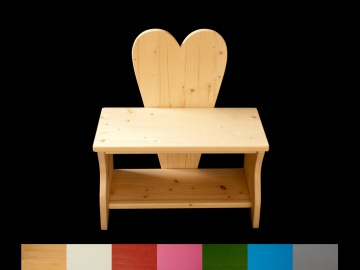 Herzbank Kinderbank Herz mit Wunschfarbe auf Sitzfläche + Schuhablage (Kindersitzbank aus Holz, Schuhbank, Sitzbank für Kinder)
