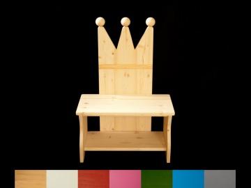 Kronenbank Kronenstuhl Kinderbank Krone mit Wunschfarbe auf Sitzfläche + Schuhablage (Kindersitzbank aus Holz, Schuhbank, Sitzbank für Kinder)