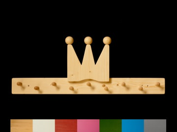 Kindergarderobe Krone mit Wunschfarbe (komplett lackiert) Holz Kindergarderobe Krone mit 9 Haken
