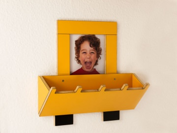 Baggergarderobe für Kinder Kindergarderobe Fotogarderobe Bagger mit 3D-Baggerschaufel