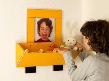 Bilderrahmen Bagger 3D für Kinder (mit Baggerschaufel als Ablagefach) - Handarbeit kaufen