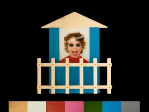 Fotogarderobe Haus mit Wunschfarbe Kindergarderobe Holz Garderobe - Handarbeit kaufen