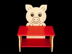 Kinderbank Schwein rot (Schuhbank, Kindersitzbank Holz, Sitzbank für Kinder) - Handarbeit kaufen