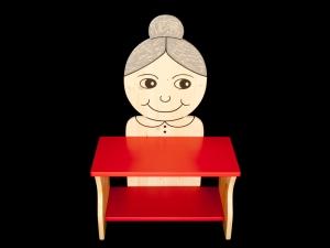 Kinderbank Oma rot (Schuhbank, Kindersitzbank aus Holz, Sitzbank für Kinder) - Handarbeit kaufen