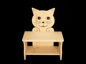 Kinderbank Katze klar lackiert (Kindersitzbank aus Holz, Schuhbank, Sitzbank für Kinder)