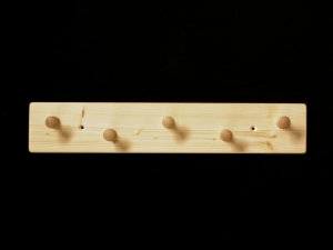 Garderobe aus Holz mit 5 Haken klar lackiert (Garderobenleiste Garderobenhaken)