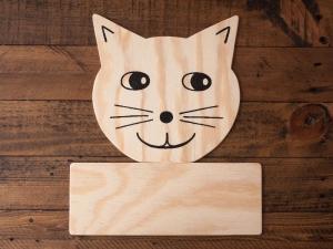 Türschild Katze aus Holz für Kinder zum selbst Beschriften - Handarbeit kaufen
