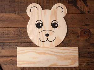 Türschild Bär aus Holz für Kinder zum selbst Beschriften - Handarbeit kaufen
