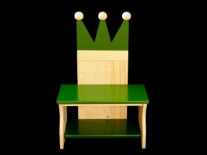 Kronenbank Kronenstuhl Kinderbank Krone grün (Kindersitzbank aus Holz, Schuhbank, Sitzbank für Kinder)