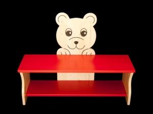 Kinderbank Bär rot und klar lackiert (Kindersitzbank aus Holz, Schuhbank, Sitzbank für Kinder)