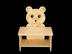 Kinderbank Bär klar lackiert (Kindersitzbank aus Holz, Schuhbank, Sitzbank für Kinder) - Handarbeit kaufen
