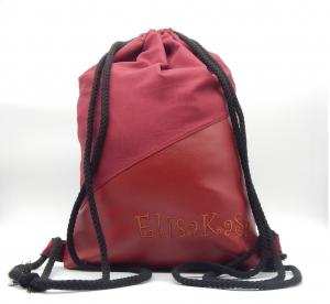 Rucksack für Erwachsene rotes Kunstleder (bestickbar)