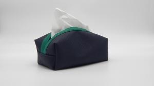 Taschentuchbox für daheim aus blauem Kunstleder (bestickbar) - Handarbeit kaufen