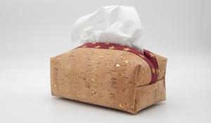 Taschentuchbox für daheim aus Kork mit Gold Imitat