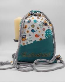 Rucksack für Kinder mit Innentasche und Flaschenhalter, bestickbar (petroleum Eule)