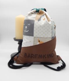 Rucksack für Kinder mit Innentasche und Flaschenhalter, bestickbar (braun mit Tieren)
