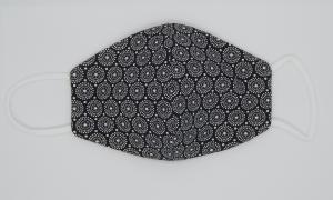 Mundbedeckung Maske - Black Edition (Blumen)