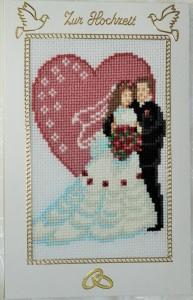 Gestickte Grusskarte , Hochzeitskarte, Handarbeit