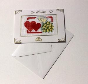 Gestickte Grusskarte , Hochzeitskarte, Handarbeit                                                                                                                               - Handarbeit kaufen