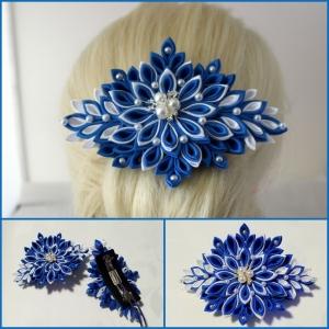 Haarspange, Kanzashi Blume, Haarschmuck - Handarbeit kaufen