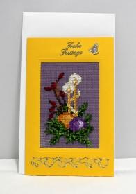 Gestickte Grusskarte, Weihnachtskarte