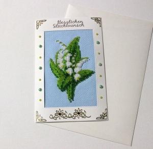 Mit Glasperlen gestickte Grusskarte, Geburtstagskarte                                                                                                                       - Handarbeit kaufen