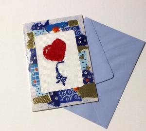 Gestickte Grusskarte, Geburtstagskarte, Handarbeit                                                                                                      - Handarbeit kaufen