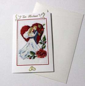 Hochzeitskarte, Gestickte Grußkarte ,  Handarbeit                                                                                    - Handarbeit kaufen