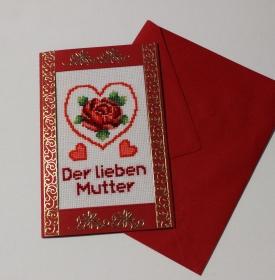 Gestickte Grusskarte , Muttertag, Handarbeit                                                                                                               (Kopie id: 100245828) - Handarbeit kaufen