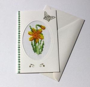 Mit Glasperlen gestickte Grusskarte, Handarbeit                                                                                                                        - Handarbeit kaufen