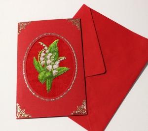 Gestickte Grusskarte, Geburtstagskarte, Handarbeit                                                                                                      (Kopie id: 100245830) - Handarbeit kaufen