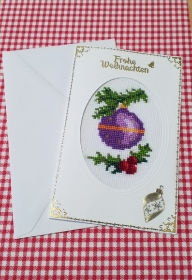 Gestickte Grusskarte, Weihnachtskarte                                                                                                  - Handarbeit kaufen