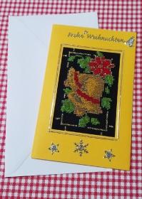 Gestickte Weihnachtskarte, Grußkarte                                                                                              - Handarbeit kaufen