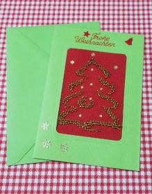 Mit Glasperlen gestickte Weihnachtskarte, Grußkarte                                                                                            - Handarbeit kaufen