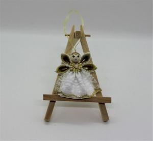 Engel im weißen Kleid mit Gold, Weihnachtsdeko, Weihnachtsbaum Anhänger, Handgemacht - Handarbeit kaufen
