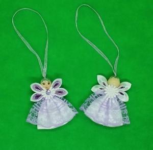 Engel in lila Kleid, Weihnachtsdeko, Weihnachtsbaum Anhänger, Handgemacht                                 - Handarbeit kaufen