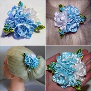 Haarspange, Haarklammer, Kanzashi Blume, Haarschmuck   - Handarbeit kaufen
