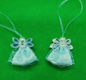 Engel im blauen Kleid, Weihnachtsdeko, Weihnachtsbaum Anhänger, Handgemacht