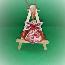 Engel im roten Kleid, Weihnachtsdeko, Weihnachtsbaum Anhänger, Handgemacht